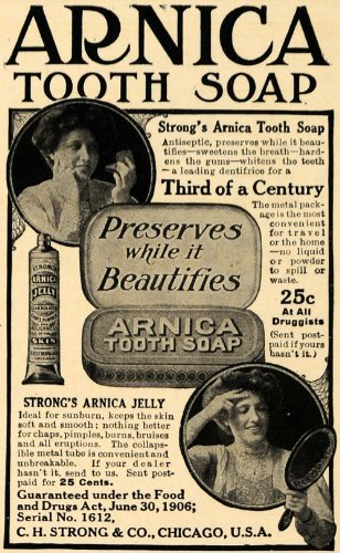 1908 Ad Arnica Tooth Soap Paste Jelly Metal Beauty Drug - Original Print Ad - Arnica Tooth Soap