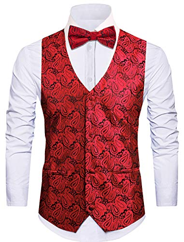 Cyparissus 3pc Paisley Vest Men Neck Tie Bow Tie Set Suit Tuxedo ()