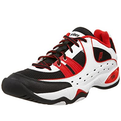 Prince Men's T8 Tennis Shoe,White/Black/Red,7 M US