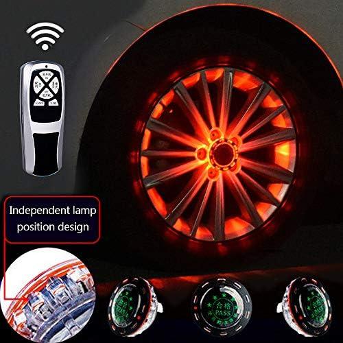 車のリム用ライト、11モードモノクロLEDソーラーカーホイールタイヤハブライト、RGB点滅カラフルなエクステリアライト、RFリモートコントロール、装飾警告灯(4個),Red
