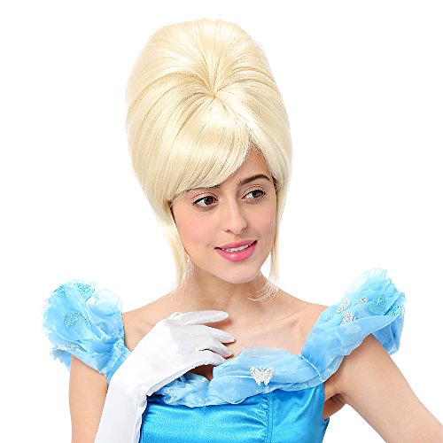 Beehive Wig Blonde (STfantasy Beehive Wig Platinum Blonde Bob Straight for Women Halloween Cosplay Party Hair w/ Cap)