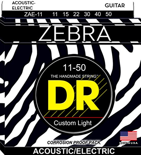 DR Strings Zebra - Acoustic-Electric Round Core 11-50