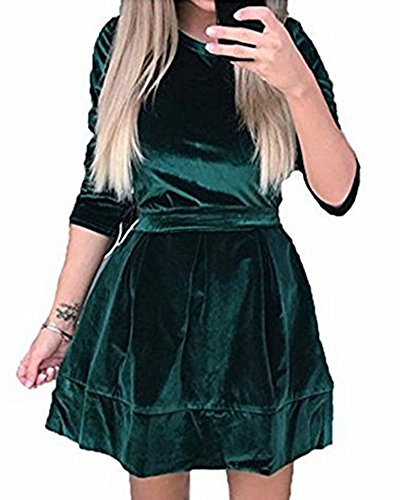 Dress Figure Skater T-shirts (ZJFZML Dresses For Juniors, Ladies Stand Neck 3/4 Sleeve Casual Jersey Fall Skater Dress With Belt Flared Workout Clothes For Women Thick Warm Tshirt Elastic Waist Dress Green Small)