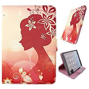 """Aikand® iPad Pro 12.9 pulgadas Caso,iPad Pro 12.9 """"de la cubierta,[Auto estela/del sueño] Diamond Shine magnética del cuero sintético elegante de lujo premium Funda Funda para iPad de Apple 12.9"""" (2015 Lanzamiento)-niña de las flores"""