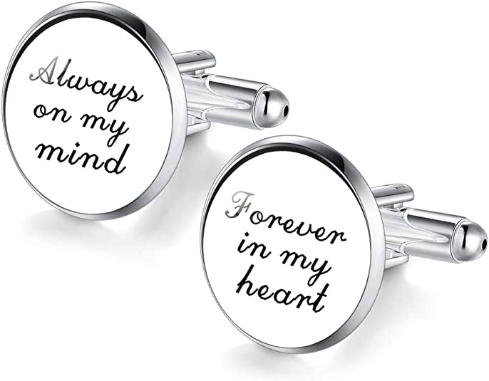 Black /& White Keep Calm /& Carry On Cufflinks With Gift Pouch Present For Him