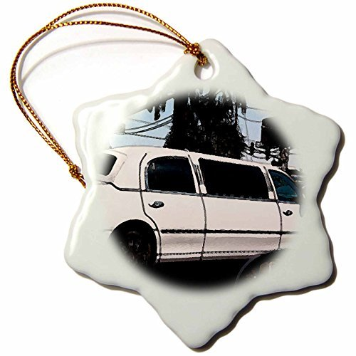 OneMtoss White Stretch Limousine in Las Vegas Driving Down The Famous Boulevard Finished in Fresco Snowflake Ornament, Porcelain,