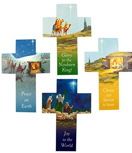 Christmas Crosses Assorted Style Holy Cards with Bible Scripture Back, Pack of 100
