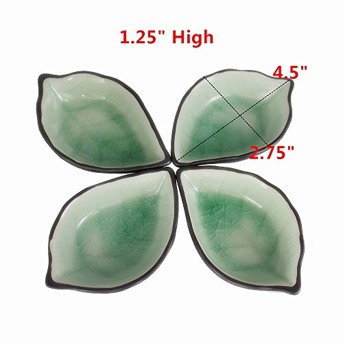 leoyoubei 2 oz ice crack glaze Ceramic pickles /Porcelain Dipping Bowls/ caviar / dessert / appetizer and other spices leaves style tableware 4.4x2.75''-4 pack (Light green) by leoyoubei (Image #2)