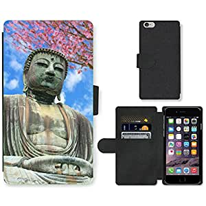 PU Cuir Flip Etui Portefeuille Coque Case Cover véritable Leather Housse Couvrir Couverture Fermeture Magnetique Silicone Support Carte Slots Protection Shell // V00001625 Gran Buda // Apple iPhone 6 4.7""