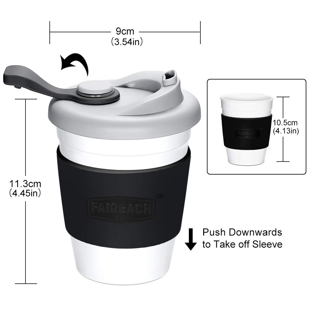 Coffee Cup with Lid, Faireach Reusable Coffee Mug with Non-slip Sleeve, Coffee Tumbler with FDA Approved and BPA-Free Safe Material, Dishwasher& Microwave Safe, 12 oz