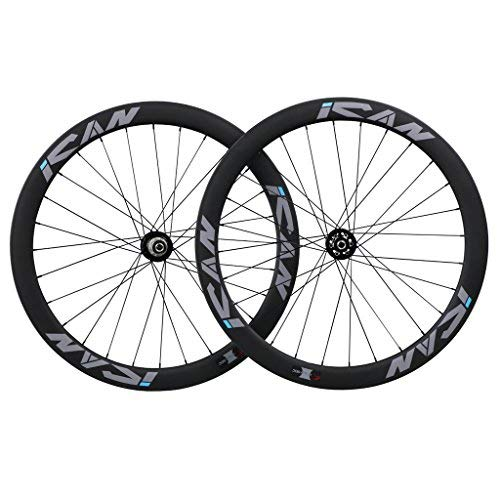 - ICAN 50mm Cyclocross Bike Carbon Wheelset Clincher Disc Brake Thru Axle Hub 100 x 15mm/142 x 12mm