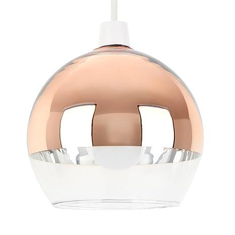 MiniSun - Moderna pantalla para lámpara de techo del famoso estilo Arco- con forma de globo, en dos tonos cobre y cristal transparente
