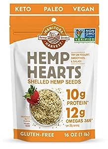 Manitoba Harvest Hemp Hearts Shelled Hemp Seeds, 16oz; 10g Plant-Based Protein & 12g Omegas per Serving, Whole 30 Approved, Vegan, Keto, Paleo, Non-GMO, Gluten Free