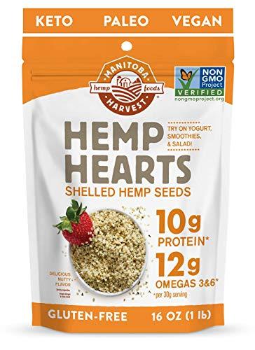 Manitoba Harvest Hemp Hearts Shelled Hemp Seeds, 16oz; 10g Plant-Based Protein & 12g Omegas per Serving, Whole 30 Approved, Vegan, Keto, Paleo, Non-GMO, Gluten Free 1