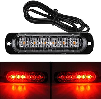 Car Truck Motorcycle Warning Flash Lights Flashing Strobe Lamps Red LED 12V-24V