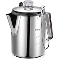 Outdoor 9 Cup Stainless Steel Percolator Coffee Pot Coffee Maker for Camping Home Kitchen
