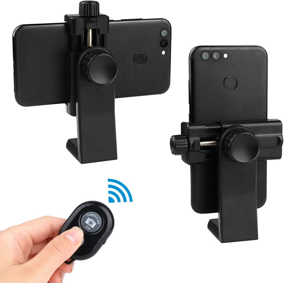 TOAZOE Phone Tripod Mount with Remote 360 Rotation Smartphone Holder Adapter