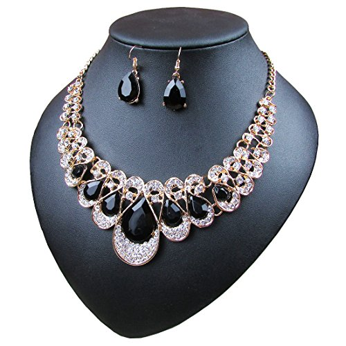 Crystal Glass Water Droplets Large Stones Necklace and Stud Earrings Set for Women (black)