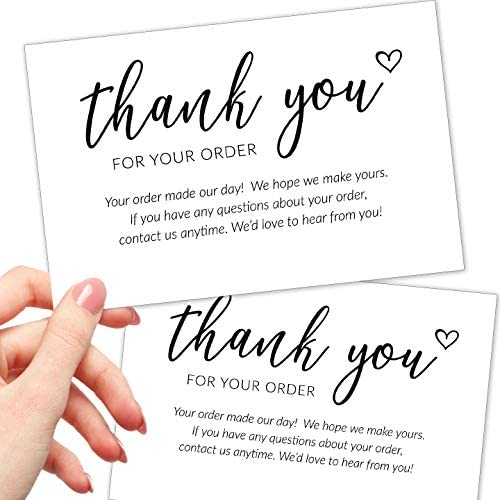 50 Extra Large Thank You For Your Order Cards – 4×6″ Bulk Package Inserts for any Small Business Purchase