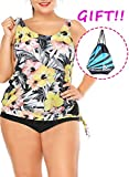 Sylaon Two Piece Womens Swimsuits Plus Size Tankini Set A-Tops with Bottom Printed Swimwear Bikini US 16-18/XXL B-light Goldenrod+pants