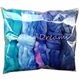 Weaving Spinning Best Deals - SPINNING FIBER Super soft BFL Wool Top Roving drafted for hand spinning with drop spindle or wheel, felting, blending and weaving. Variegated hand dyed mini skeins. 5 Ounce DISCOUNT PACK, Blues
