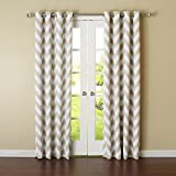 Best Home Fashion Room Darkening Chevron Print Curtains – Antique Bronze Grommet Top – Beige- 52″ W X 84″ L – (1 Panel)