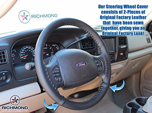 1999 - 2007 Ford F-250 F-350 F-450 F-550 Lariat - Leather Steering Wheel Cover, (Ford F450 Lariat)