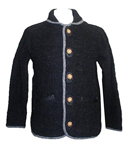 Agan Traders Nepal Joseph Lamb Wool Lined Cardigan Sweater [Charcoal/Grey; Large]