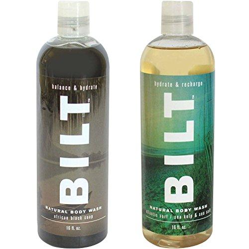 """BILT Natural Body Wash for Men""""Recharge"""" Variety Set of 2: African Black Soap & Atlantic Surf"""