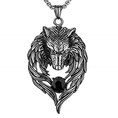 MILOVE-U Women Necklace Wolf Head Pendant Necklace Wolf Head Necklace and 29inch Lenght Necklace Chain