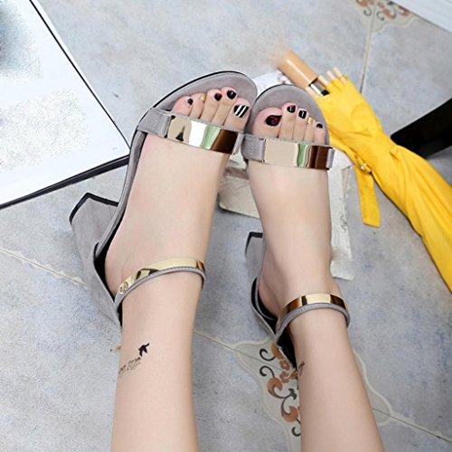 Elegante Basse Taccco con Estate Sandali Spessi Tacchi Peep Casuale Sandali con Scarpe Toe Ragazze Sandali Alto Estivi Gladiatore Beauty grigio Top da Donna Aperte 0WnUI