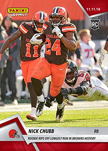 - 2018 Panini Instant NFL Football #90 Nick Chubb RC Rookie Rips Off Longest Run in Cleveland Browns History Print Run 103 Official Trading Card SOLD O