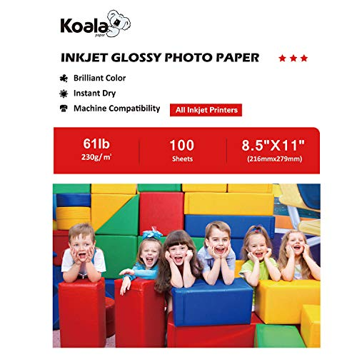 (Koala Photo Paper High Glossy 8.5x11 Inches 230gsm 100 Sheets Compatible with Inkjet Printer)