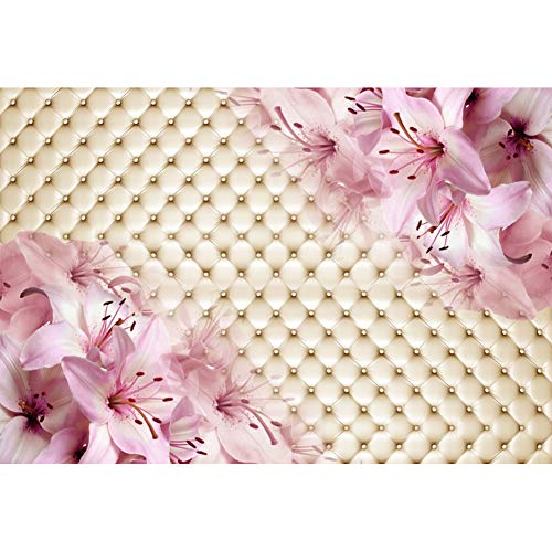 (Baocicco 7x5ft Happy Birthday Backdrop Wedding Backdrop Pink Lily Flowers Decor Grid Headboard Photography Background Mother's Day Girl's Birthday Party Bridal Shower Girls Lady Portrait Studio)