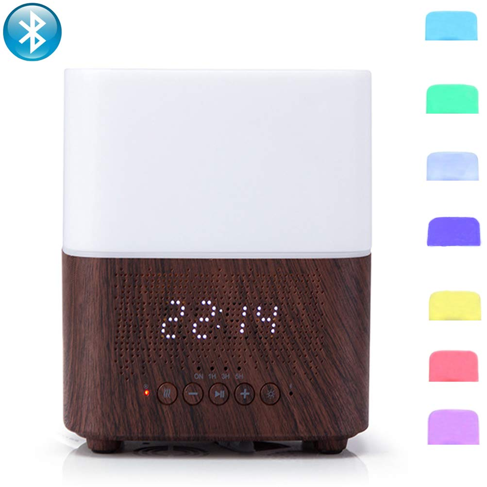 Fyng 300ml Aromatherapy Essential Oil Diffuser Humidifier With Bluetooth Speaker, Led Night Light, Alarm Clock (D-Brown) by Fyng