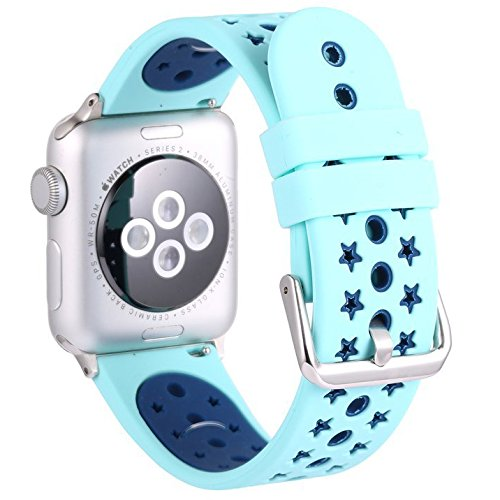 For Apple Watch Bands ,Copbis Silicone Replacement Straps and Sport Watch Wristband in two colors for Iwatch Bands (Turquoise+Blue, 42mm)