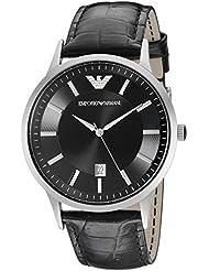Emporio Armani Mens AR2411 Dress Black Leather Watch