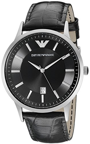 Emporio Armani Men's AR2411 Dress Black Leather Watch (Leather Men Armani Watch)