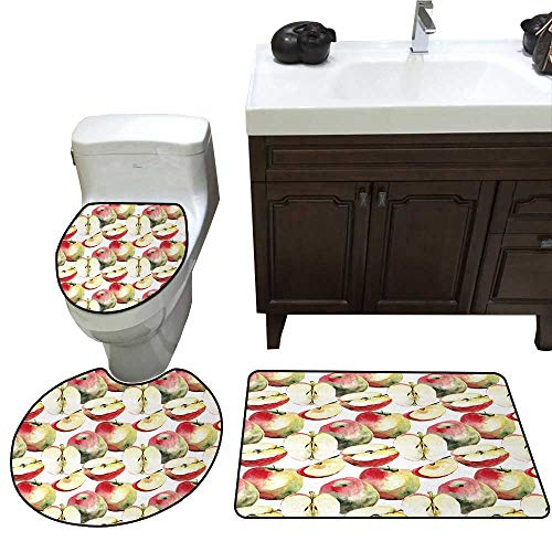John Taylor Apple Bath Rug Set Piece Halved and Quartered Organic McIntosh Apples Gourmet Food Healthy Life Toilet mat Set Ivory Red Reseda Green