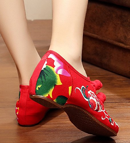 Sole Boat Dancing Shoes AvaCostume Women Peony Embroidery Shoes Red Rubber q4xI6Bw