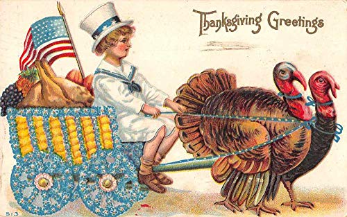 Thanksgiving Greetings Patriotic Turkey Cart Vintage Postcard JA7471861