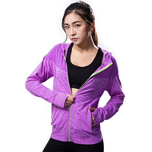 Daiwenwo Stretchy Women's Running Sports Jackets Full Zip Activewear Hoodie Coat Thumb Holes M02101 (L, Purple) ()
