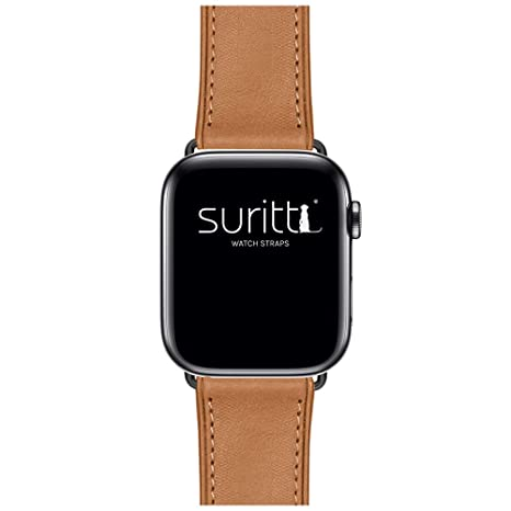 3f15cb28394 Suritt ® Correa para Apple Watch de Piel Rio (6 Colores Disponibles). 3  Colores de Hebilla y Adaptador para Elegir (Negro  Amazon.es  Electrónica
