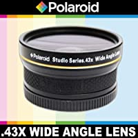 Polaroid Studio Series .43x High Definition Wide Angle Lens With Macro Attachment, Includes Lens Pouch and Cap Covers For The Canon Digital EOS Rebel SL1 (100D), T5i (700D), T4i (650D), T3 (1100D), T3i (600D), T1i (500D), T2i (550D), XSI (450D), XS (1000D), XTI (400D), XT (350D), 1D C, 60D, 60Da, 50D, 40D, 30D, 20D, 10D, 5D, 1D X, 1D, 5D Mark 2, 5D Mark 3, 7D, 6D Digital SLR Cameras Which Has Any Of These (18-55mm, 55-250mm, 75-300mm, 50mm 1.4 , 55-200mm, 70-300mm, 28mm, 85mm f/1.8) Canon Lenses