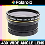 Polaroid Studio Series .43x High Definition Wide Angle Lens With Macro Attachment, Includes Lens Pouch and Cap Covers For The Canon Digital EOS Rebel SL1 (100D), T5i (700D), T4i (650D), T3 (1100D), T3i (600D), T1i (500D), T2i (550D), XSI (450D), XS (1000D