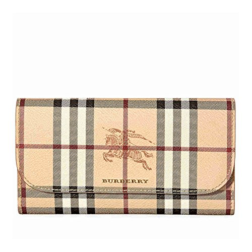 Burberry Women's Haymarket Check and Leather Continental Wallet Mid Camel