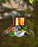 Classic Colorful Solar Powered Metal and Glass Garden Lamps (Hummingbird)