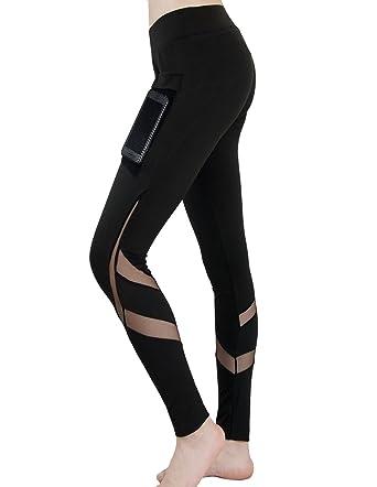 iPretty femme leggings maille sport Pantalon de yoga avec poche pour  téléphone noir f69a989b20a