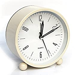 Alarm clock, Bidason Cube Office Desk Clock, No Ticking Noise Modern Cool Alarm Clocks for Bedrooms with Night Light, Battery Operated Travel Clock, Easy to set, Ideal Gift for Kids (Beige)