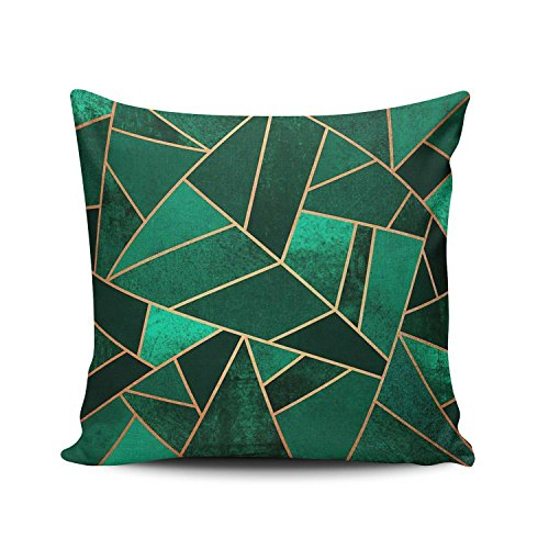 KEIBIKE Personalized Emerald and Copper Fashion Design European Square Decorative Pillowcases Green Retro Zippered Throw Pillow Covers Cases 18x18 Inches One Sided
